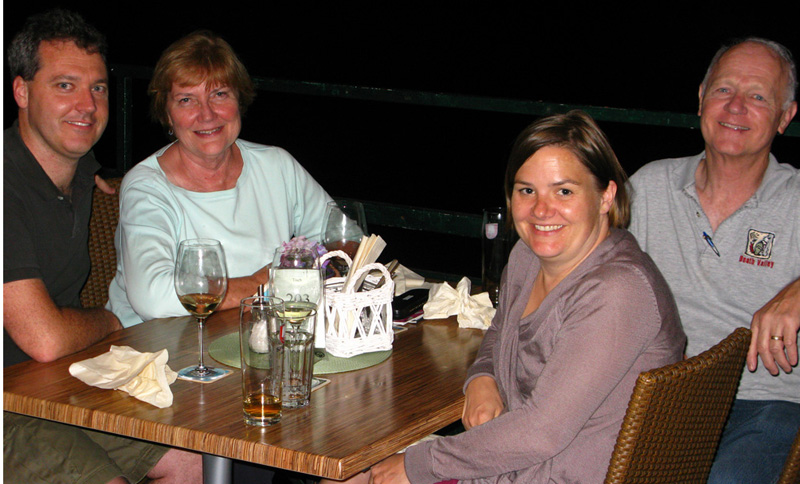 Dining with Brian and Marion along the Isar in Pullach upon our arrival in Germany