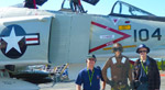 In San Diego with (Vietnam Pilot) Warren Searls, next to an F-4 Phantom II aboard the U.S.S. Midway