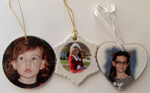 Tori's face on three Christmas ornaments